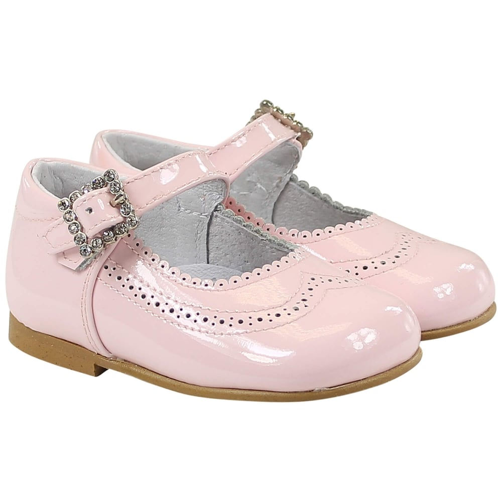 Pretty originals patent pink diamond buckle shoes - little-boppers