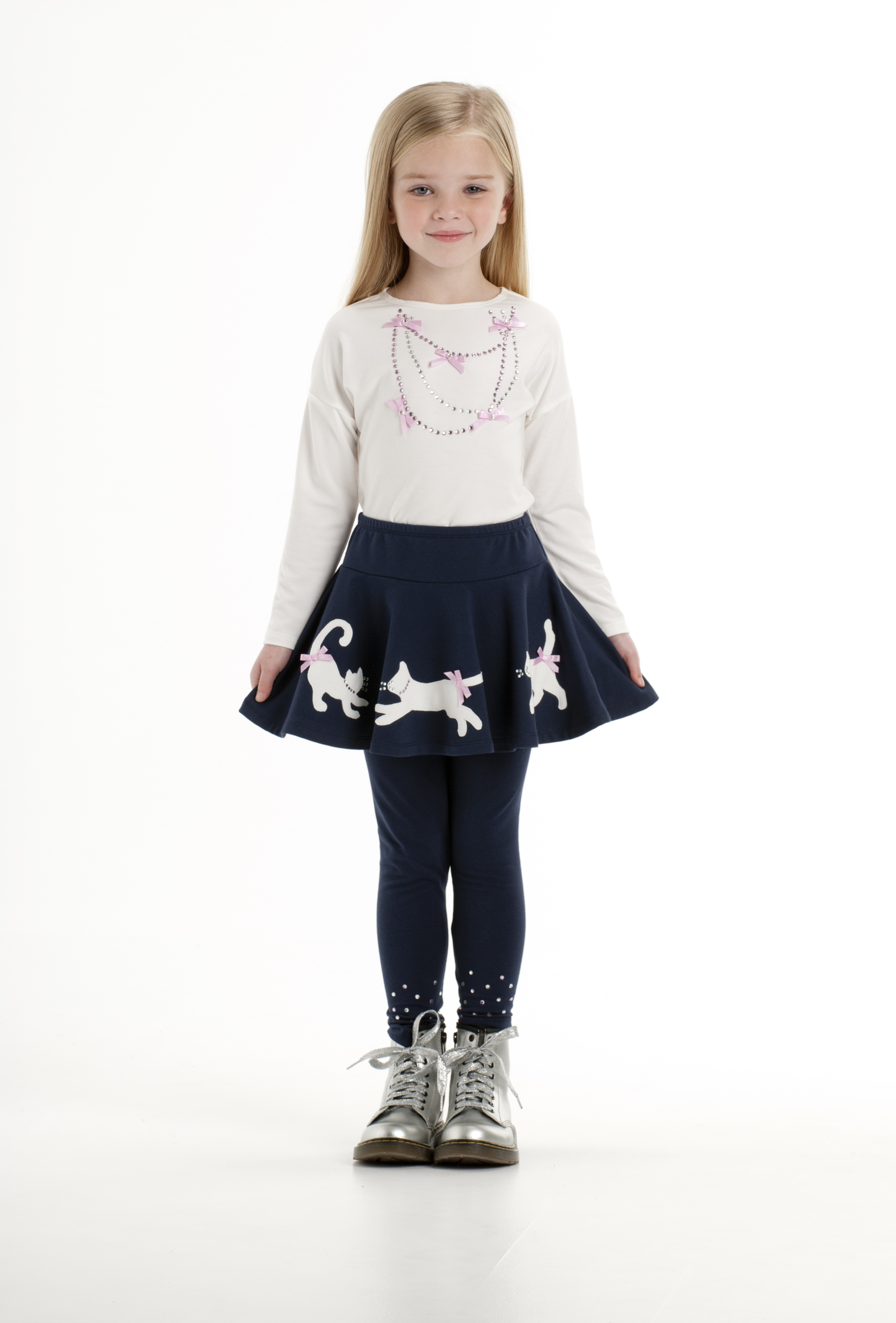 6e5943f4b589a Kate Mack – Navy Skirt with Cream  Necklace  Top and Navy  Stones  Leggings