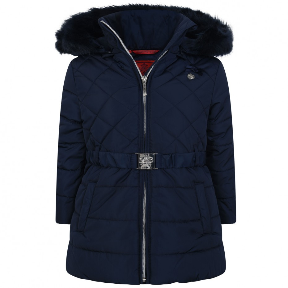 c8f029c0ec12 S D Le Chic Girls Navy Padded Ruffle Coat - little Boppers