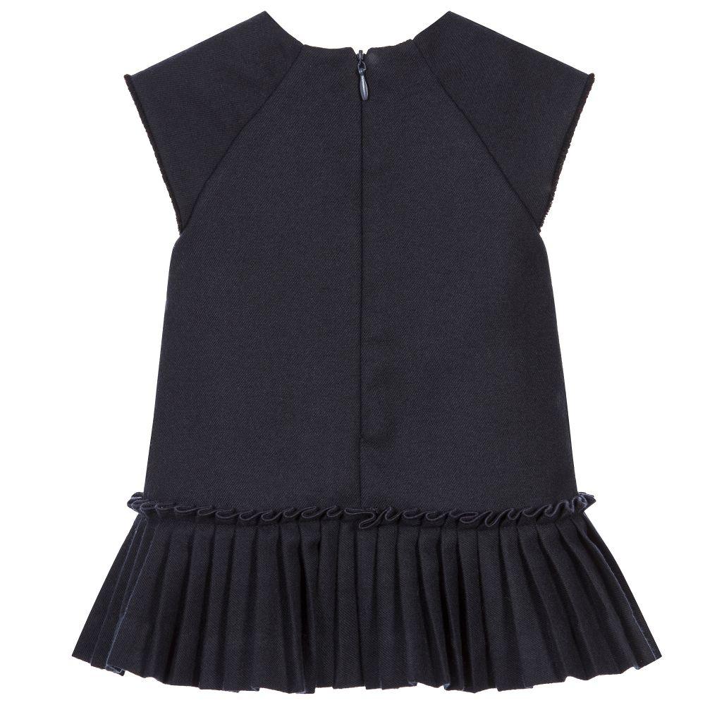 Tartine et Chocolat Girls Navy Blue Dress Baby Girls Ivory