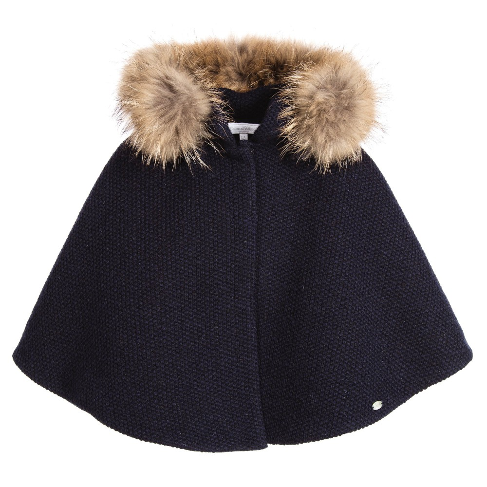 Tartine et Chocolat Girls Navy Blue Wool Cape with Fur - little Boppers a044302f70a