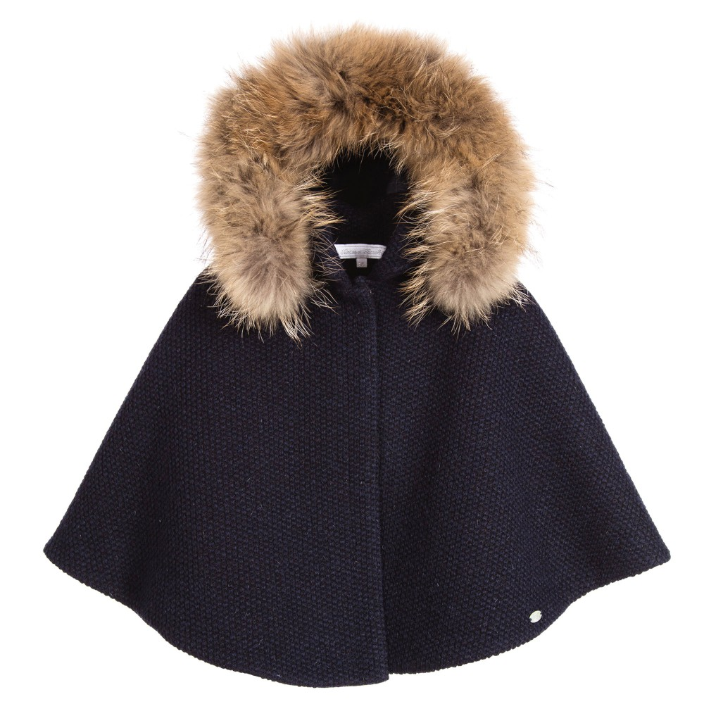 c5167d680 Tartine et Chocolat Girls Navy Blue Wool Cape with Fur - little Boppers