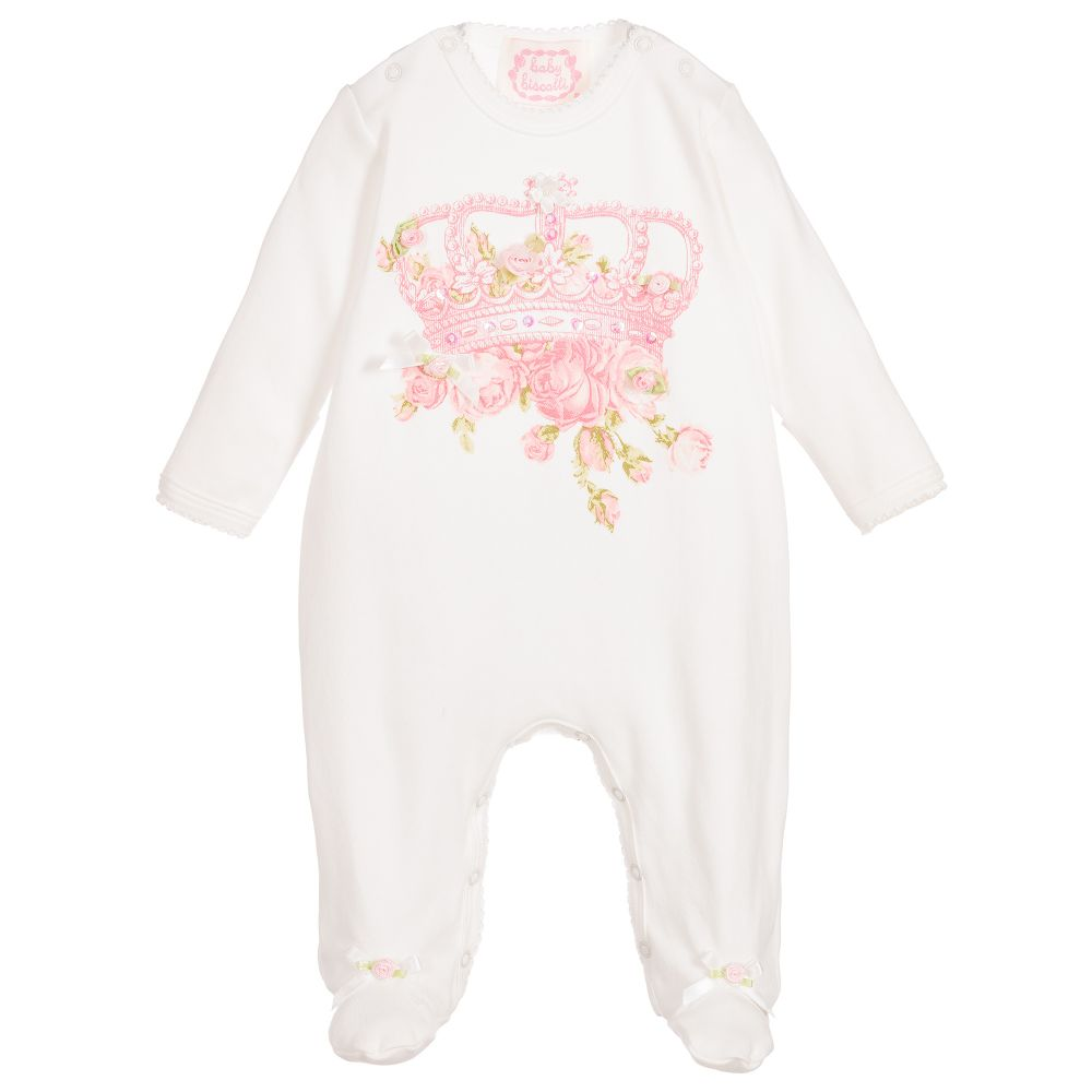 491e00a6307a7 Kate Mack   Biscotti Girls Ivory Crown Babygrow - little Boppers