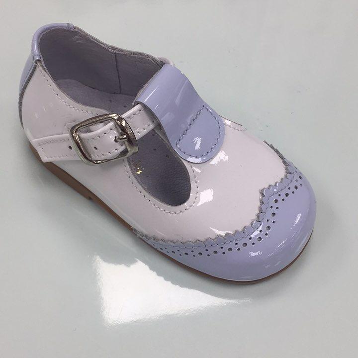 087e6c9a2a273 Pretty Originals Boys Pale Blue And White Patent Shoe. Boys Shoes Boots »  ...