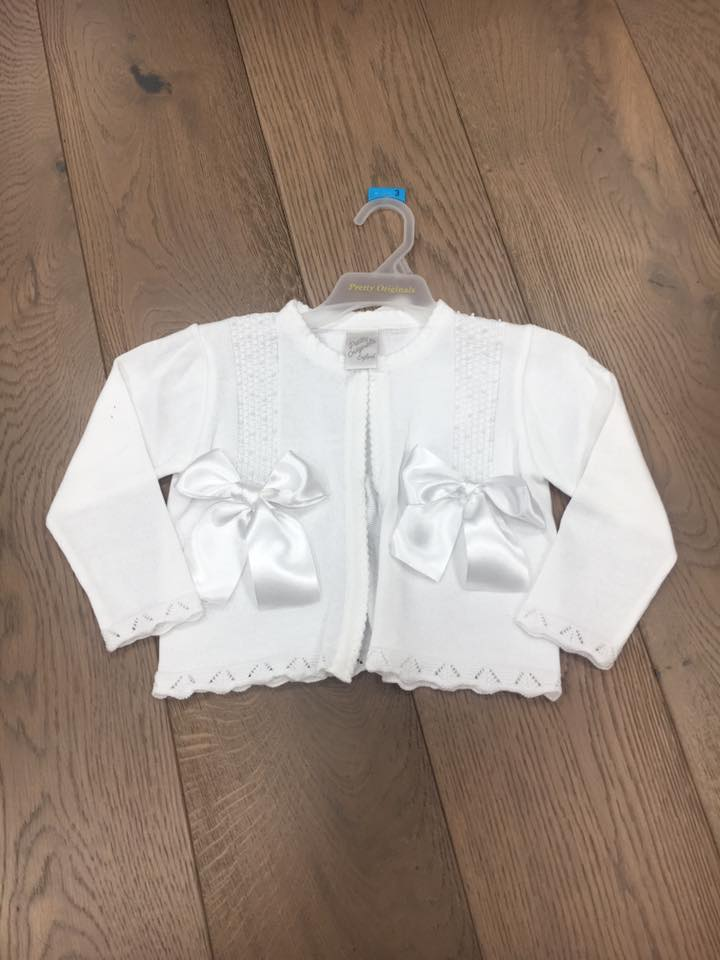ef120e9aa Pretty Originals Girls White Bow Cardigan
