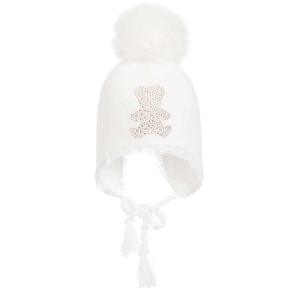 Trestelle Baby Girls Ivory Pom-Pom Hat - little Boppers 611850549c3