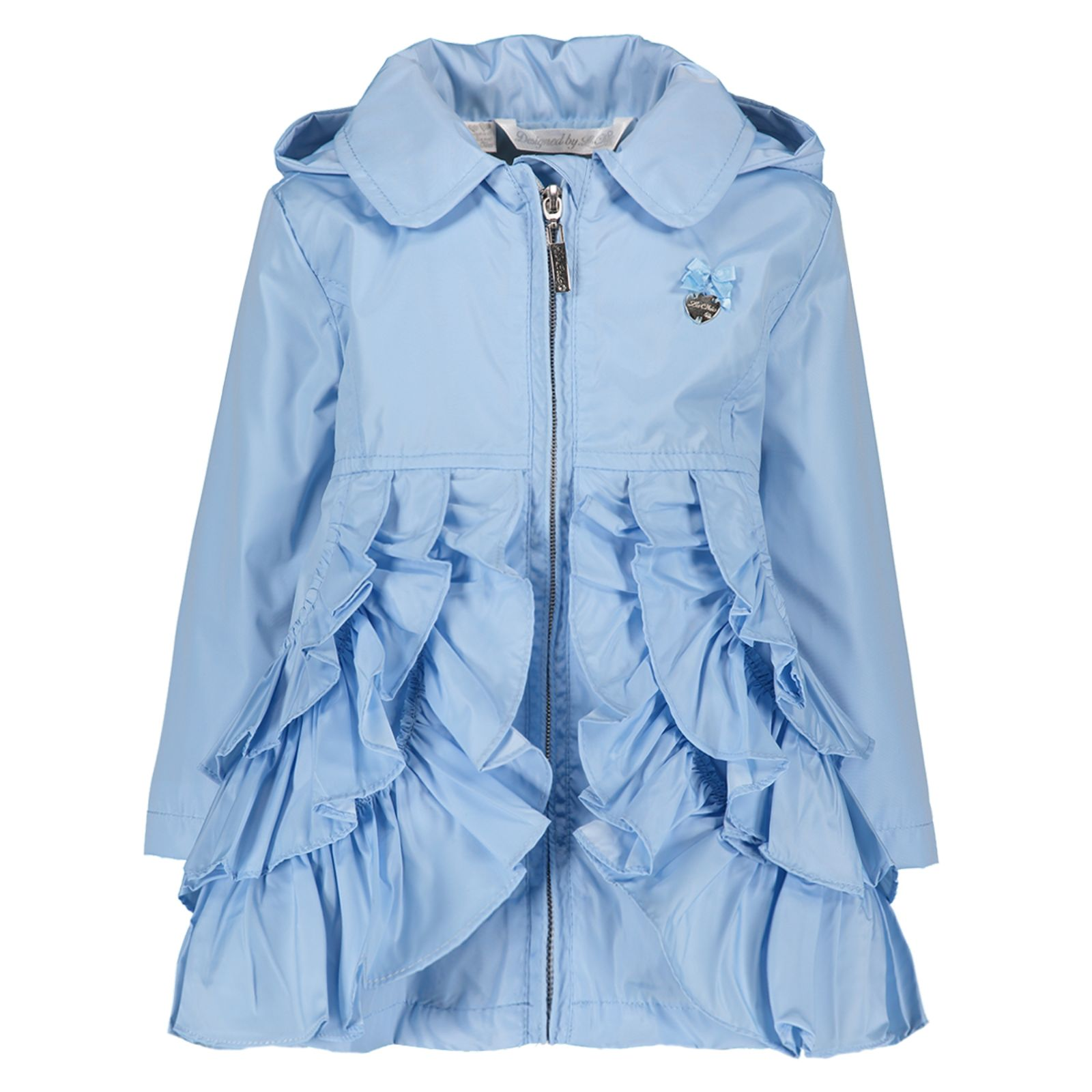 3407cabbb138 Le Chic Baby Girls Blue Ruffle Coat - little Boppers