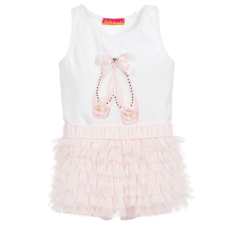 bb1e95e42d25d Kate Mack   Biscotti Pink Ballet Shoes Baby Outfit