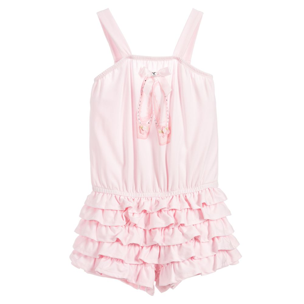 b7626f3725625 Kate Mack   Biscotti Pink Ballet Shoes Playsuit - little Boppers