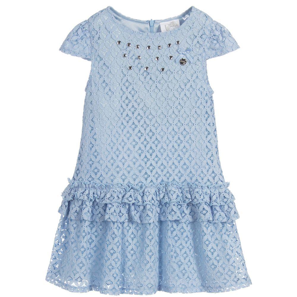 9074af5ce99 Le Chic Girls Blue Lace Dress