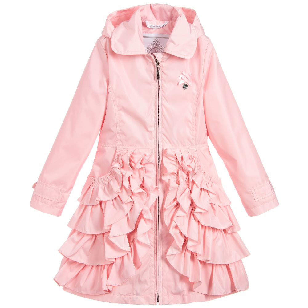 a37bfb938df Le Chic Girls Pink Ruffle Coat