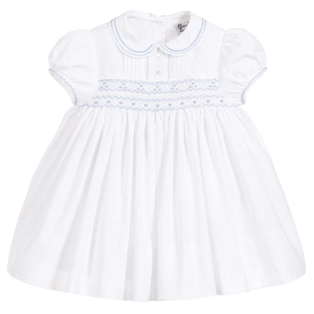 33cfc0cb150 Sarah Louise Girls White Hand-Smocked Dress - little Boppers